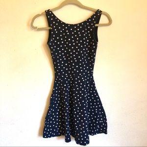 H&M navy polka dot skater dress
